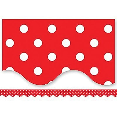 Teacher Created Resources P-12th Grades Scalloped Bulletin Board Border Trim, Red Mini Polka Dots, 108/Pack (TCR4665)