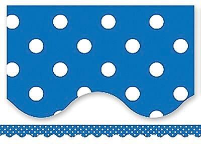 Teacher Created Resources® P-12th Grades Scalloped Bulletin Board Border Trim, Blue Mini Polka Dots