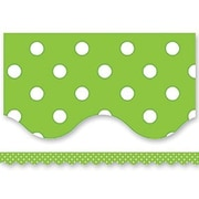 Teacher Created Resources® Scalloped Bulletin Board Border Trim, Lime Mini Polka Dots, Pre-School - 12th Grades (TCR4669)