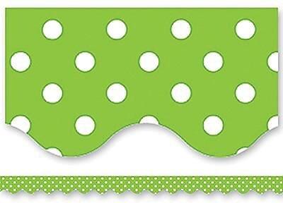 Teacher Created Resources® Scalloped Bulletin Board Border Trim, Lime Mini Polka Dots, Pre-School - 12th Grades (TCR4669)