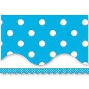 Teacher Created Resources® P-12th Grades Scalloped Bulletin Board Border Trim, Aqua Mini Polka Dots