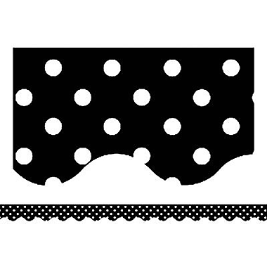 Teacher Created Resources P-12th Grades Scalloped Bulletin Board Border Trim, Black Mini Polka Dots, 108/Pack (TCR4671)