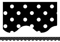Teacher Created Resources® P-12th Grades Scalloped Bulletin Board Border Trim, Black Mini Polka Dots