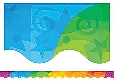 Teacher Created Resources Scalloped Abstract Rainbow Border Trim, 35