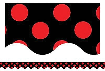 Teacher Created Resources® Scalloped Bulletin Board Border Trim, Red Mini Polka Dots On Black (TCR4677)