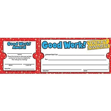 Teacher's Friend Ticket Awards, Good Work!, 600/Pack (TF-1612)
