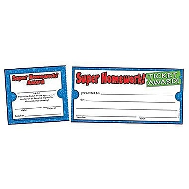 Teacher's Friend® Ticket Awards, Super Homework!