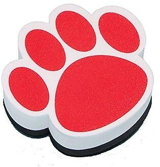 Ashley® Magnetic Whiteboard Eraser, Red Paw, 6 EA/BD