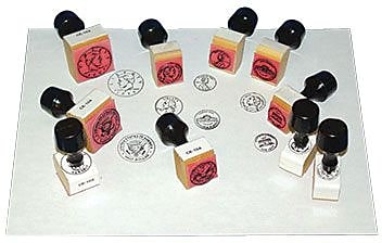 Center Enterprises® Rubber Stamp with Handles, Coin Heads and Tails