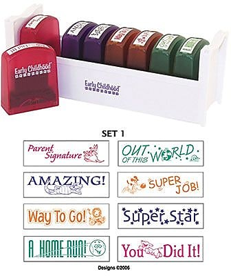 Early Childhood Resources® Self-Inking Teacher Stamps With Stand, 2