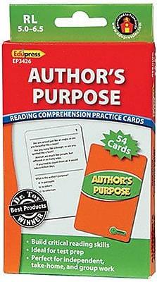 Edupress® Reading Comprehension Practice Card, Author's Purpose, Reading Level 5.0 - 6.5