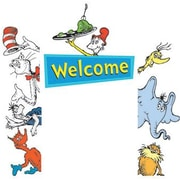 """Eureka 842660 24"""" x 17"""" DieCut Cat in the Hat Go-Around Welcome Accents, Multicolor"""
