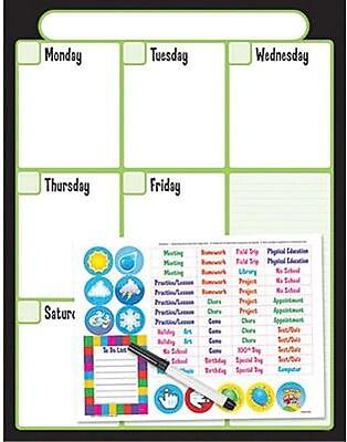 Trend Enterprises® Wipe-Off® Weekly Calendar Kit (Cling Events), Black