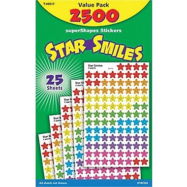 Trend Enterprises T-46917 Star Smiles Supershapes Stickers, Assorted