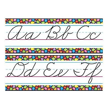 Trend Enterprises Bulletin Board Set, Stained Glass Alphabet Lines, Zane-Bloser Cursive, 9/Pack (T-8244)