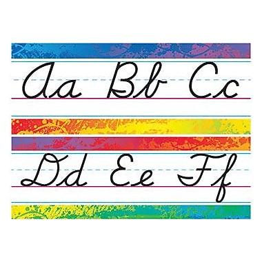 Trend Enterprises – Ensemble à babillard, ligne d'alphabet, éclaboussures de couleurs, écriture cursive moderne, 9/pqt (T-8269)