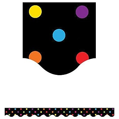 Teacher Created Resources P-12th Grades Scalloped Bulletin Board Border Trim, Multi Colour Dots, 108/Pack (TCR4648)
