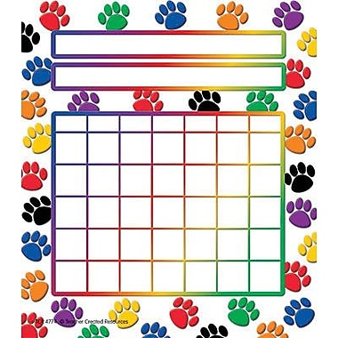 Teacher Created Resources® Motivational Incentive Chart, Colorful Paw Prints