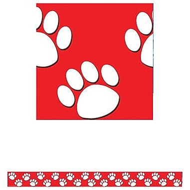 Teacher Created Resources P-12th Grades Straight Bulletin Board Border Trim, Red/white Paw Prints, 72/Pack (TCR4797)