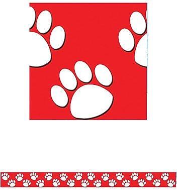 Teacher Created Resources® P-12th Grades Straight Bulletin Board Border Trim, Red/White Paw Prints