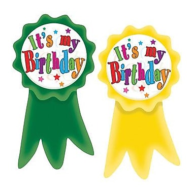 Teacher Created Resources Birthday Ribbons Wear'Em Badges, 16/Pack (TCR4851)