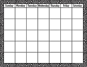 Teacher Created Resources Calendars, Black/White Crazy Circles Chart