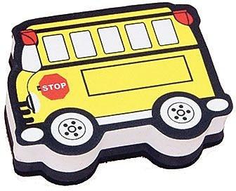 Ashley® Magnetic Whiteboard Eraser, Yellow Bus, 6 EA/BD
