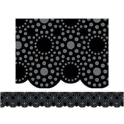"Creative Teaching Press 1104 35' X 2.75"" Scalloped Lot Of Dots Border, Black/gray"
