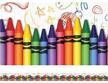 Edupress® pre-school - 12th Grades Straight Layered-Look Border, Crayons