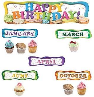 Edupress® Mini Bulletin Board Set, Happy Birthday Cupcakes