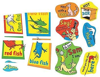 Eureka Two-Sided Deco Kit, Dr. Seuss Fish Fox and Sam