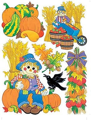 Eureka® Window Cling, Harvest Scarecrows