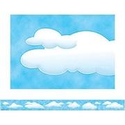"Teacher Created Resources TCR4574 35"" x 3"" Straight Clouds Border Trim, Blue/White"