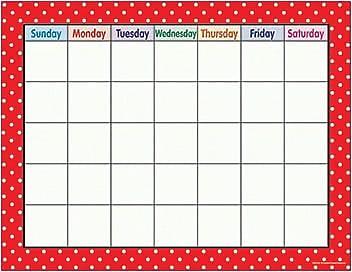 Teacher Created Resources® Polka Dots Calendar Chart, Red