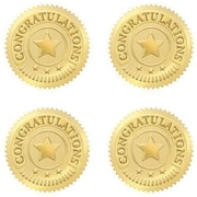 Trend Enterprises Award Seals Stickers, Congratulations, Gold, 192/Pack (T-74011)