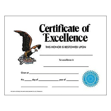 Hayes Certificates & Diplomas, Certifiate of Excellence