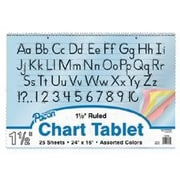"Pacon Coloured Paper Chart Tablet Paper, 1"" Rule, 24"" x 16"", 75/Pack (PAC74732)"
