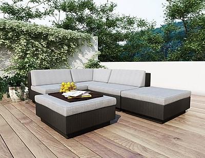 Sonax® Park Terrace Resin Rattan Wicker 5 Piece Sectional Patio Set, Textured Black