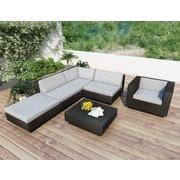 Sonax® Park Terrace Resin Rattan Wicker 6 Piece Sectional Patio Set, Textured Black