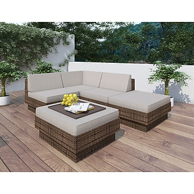 Sonax™ Park Terrace 5-Piece Sectional Patio Set, Brown Weave