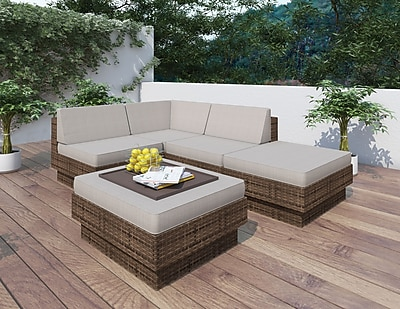 Sonax® Park Terrace Resin Rattan Wicker 5 Piece Sectional Patio Set, Coral Sand