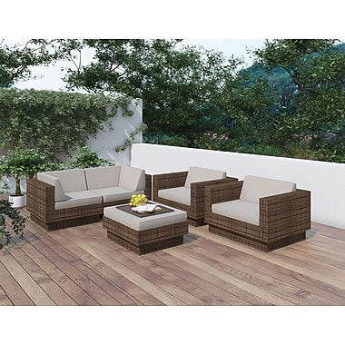 Sonax® Park Terrace Resin Rattan Wicker 5 Piece Sofa Patio Set, Coral Sand