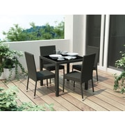Sonax® Park Terrace Resin Rattan Wicker 5 Piece Patio Dining Set, Black