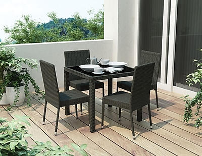 Sonax® Park Terrace Resin Rattan Wicker 5 Piece Patio Dining Set; Black, 5/Set