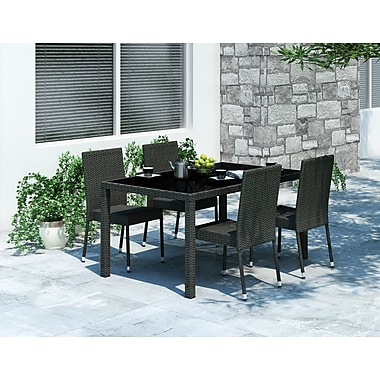 Sonax™ Park Terrace 5-Piece Rectangular Patio Dining Set, Black Weave