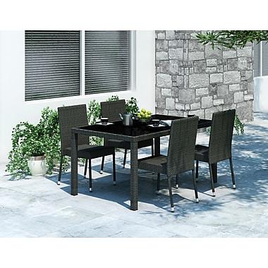 Sonax™ – Ensemble à dîner Park Terrace pour patio, rectangulaire, fini noir tressé