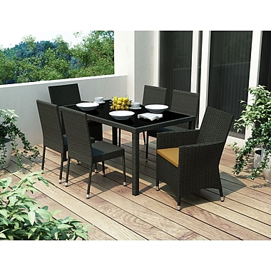 Sonax® Park Terrace UV Resistant Resin Wicker 7 Piece Patio Dining Set, River Rock Black