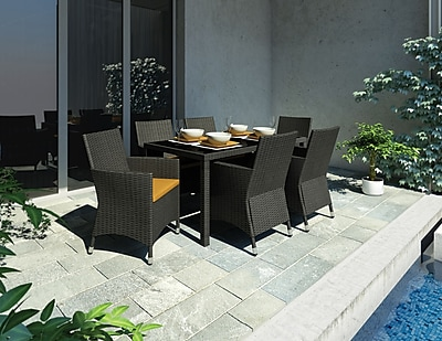 Sonax® Park Terrace UV Resistant Resin Wicker Patio Dining Set; River Rock Black, 7/Set