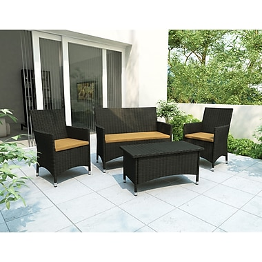 Sonax™ Cascade 4-Piece Patio Set, Black Weave