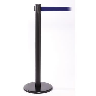 QPro 250 Black Stanchion Barrier Post with Retractable 11' Blue Belt